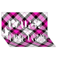 Smart Plaid Hot Pink Laugh Live Love 3d Greeting Card (8x4)  by ImpressiveMoments