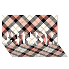 Smart Plaid Peach #1 Mom 3d Greeting Cards (8x4)