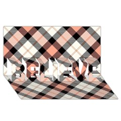 Smart Plaid Peach Believe 3d Greeting Card (8x4)