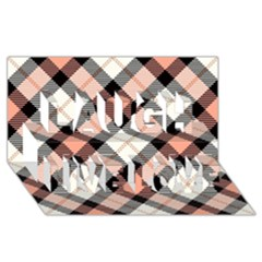 Smart Plaid Peach Laugh Live Love 3d Greeting Card (8x4)