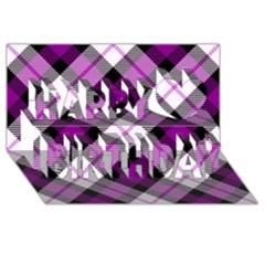 Smart Plaid Purple Happy Birthday 3d Greeting Card (8x4)  by ImpressiveMoments