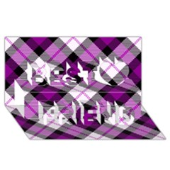 Smart Plaid Purple Best Friends 3d Greeting Card (8x4)
