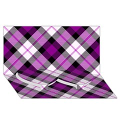 Smart Plaid Purple Twin Heart Bottom 3d Greeting Card (8x4)