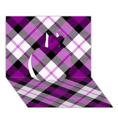 Smart Plaid Purple Apple 3d Greeting Card (7x5)  by ImpressiveMoments