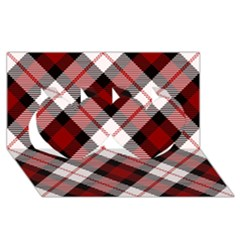 Smart Plaid Red Twin Hearts 3d Greeting Card (8x4)