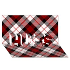 Smart Plaid Red Hugs 3d Greeting Card (8x4)