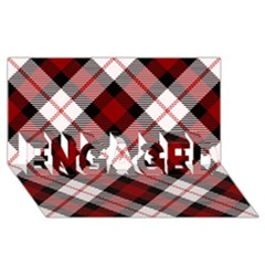 Smart Plaid Red Engaged 3d Greeting Card (8x4)