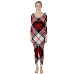 Smart Plaid Red Long Sleeve Catsuit by ImpressiveMoments