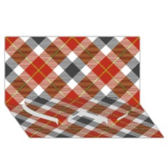 Smart Plaid Warm Colors Twin Heart Bottom 3d Greeting Card (8x4)  by ImpressiveMoments