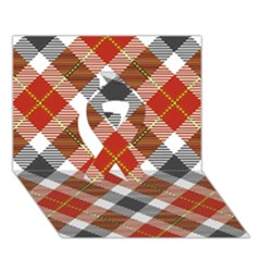 Smart Plaid Warm Colors Ribbon 3d Greeting Card (7x5)