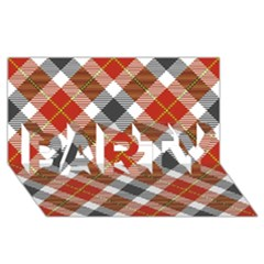 Smart Plaid Warm Colors Party 3d Greeting Card (8x4)