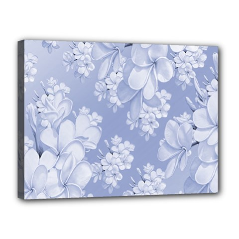 Delicate Floral Pattern,blue  Canvas 16  X 12  by MoreColorsinLife