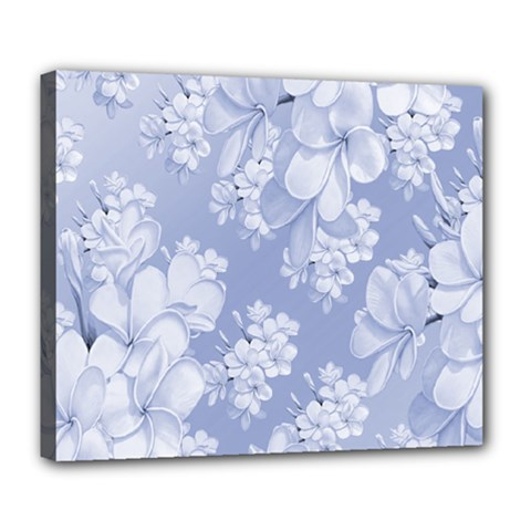 Delicate Floral Pattern,blue  Deluxe Canvas 24  X 20   by MoreColorsinLife