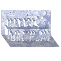 Delicate Floral Pattern,blue  Happy Birthday 3d Greeting Card (8x4)  by MoreColorsinLife
