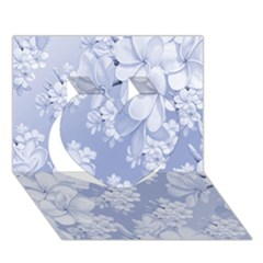 Delicate Floral Pattern,blue  Heart 3d Greeting Card (7x5)