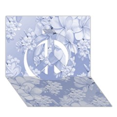 Delicate Floral Pattern,blue  Peace Sign 3d Greeting Card (7x5)