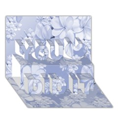 Delicate Floral Pattern,blue  You Did It 3d Greeting Card (7x5)
