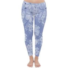 Delicate Floral Pattern,blue  Winter Leggings