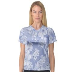 Delicate Floral Pattern,blue  Women s V-Neck Sport Mesh Tee by MoreColorsinLife