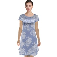 Delicate Floral Pattern,blue  Cap Sleeve Nightdresses by MoreColorsinLife