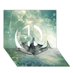 Funny Dswimming Dolphin Peace Sign 3d Greeting Card (7x5)