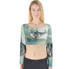 Funny Dswimming Dolphin Long Sleeve Crop Top by FantasyWorld7