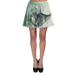 Funny Dswimming Dolphin Skater Skirts by FantasyWorld7