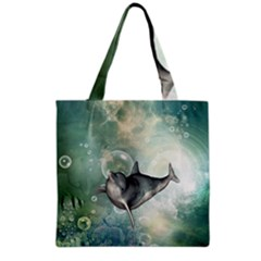 Funny Dswimming Dolphin Grocery Tote Bags