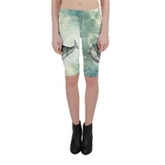 Funny Dswimming Dolphin Cropped Leggings