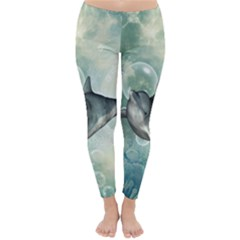 Funny Dswimming Dolphin Winter Leggings