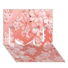 Delicate Floral Pattern,pink  I Love You 3d Greeting Card (7x5)