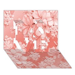 Delicate Floral Pattern,pink  Love 3d Greeting Card (7x5)