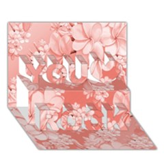 Delicate Floral Pattern,pink  You Rock 3d Greeting Card (7x5)