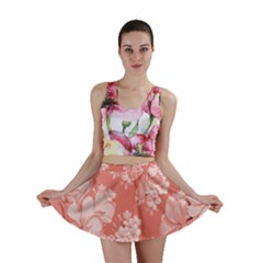 Delicate Floral Pattern,pink  Mini Skirts