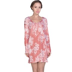 Delicate Floral Pattern,pink  Long Sleeve Nightdresses by MoreColorsinLife