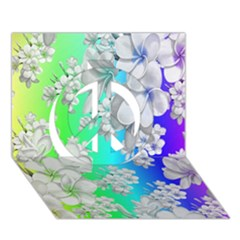 Delicate Floral Pattern,rainbow Peace Sign 3d Greeting Card (7x5)