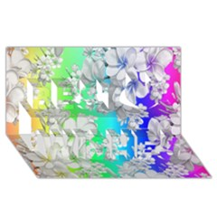 Delicate Floral Pattern,rainbow Best Wish 3d Greeting Card (8x4)