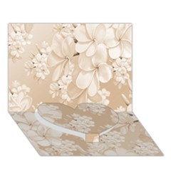Delicate Floral Pattern,softly Heart Bottom 3d Greeting Card (7x5)