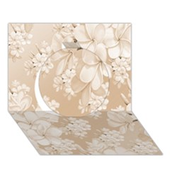 Delicate Floral Pattern,softly Circle 3d Greeting Card (7x5)