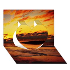 Stunning Sunset On The Beach 2 Heart 3d Greeting Card (7x5)  by MoreColorsinLife