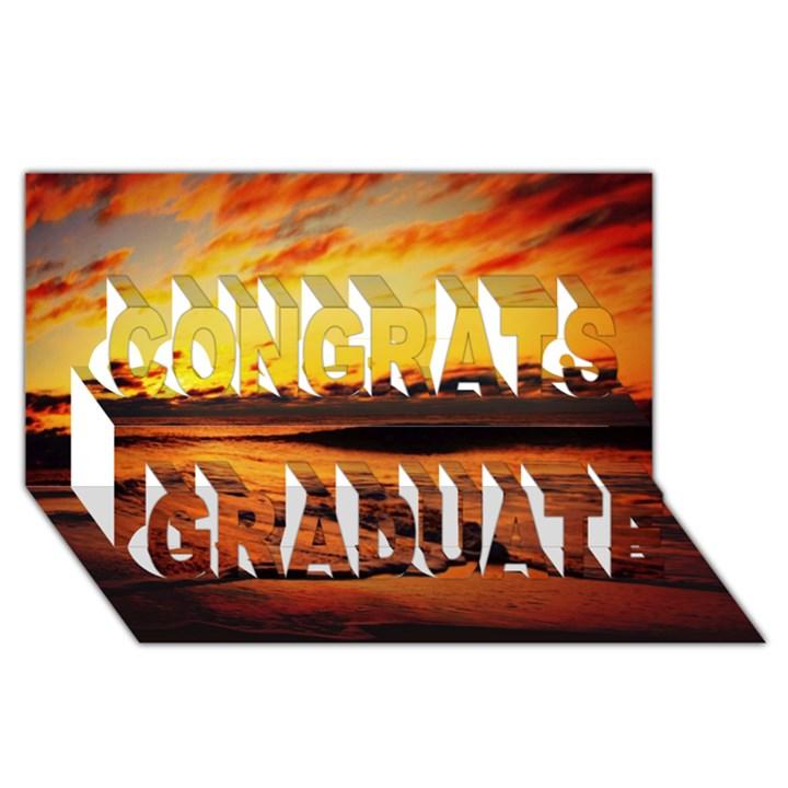 Stunning Sunset On The Beach 2 Congrats Graduate 3D Greeting Card (8x4)