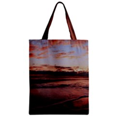 Stunning Sunset On The Beach 3 Zipper Classic Tote Bags by MoreColorsinLife
