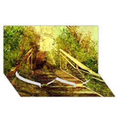 Up Stairs Twin Heart Bottom 3d Greeting Card (8x4)