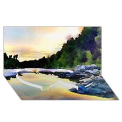 Stunning Nature Evening Twin Heart Bottom 3d Greeting Card (8x4)