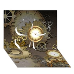 Steampunk, Golden Design With Clocks And Gears Clover 3d Greeting Card (7x5)  by FantasyWorld7