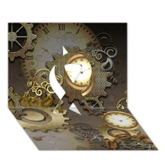 Steampunk, Golden Design With Clocks And Gears Ribbon 3d Greeting Card (7x5)