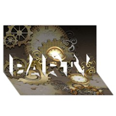 Steampunk, Golden Design With Clocks And Gears Party 3d Greeting Card (8x4)  by FantasyWorld7