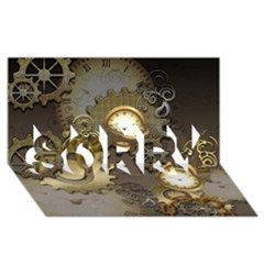 Steampunk, Golden Design With Clocks And Gears Sorry 3d Greeting Card (8x4)
