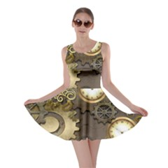 Steampunk, Golden Design With Clocks And Gears Skater Dresses by FantasyWorld7