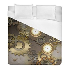 Steampunk, Golden Design With Clocks And Gears Duvet Cover Single Side (twin Size) by FantasyWorld7